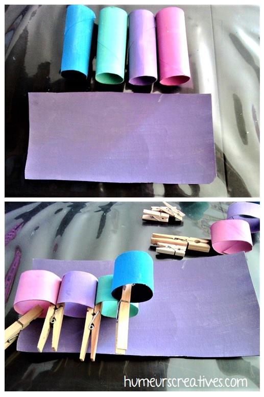 les étapes pour fabriquer la chenille en carton