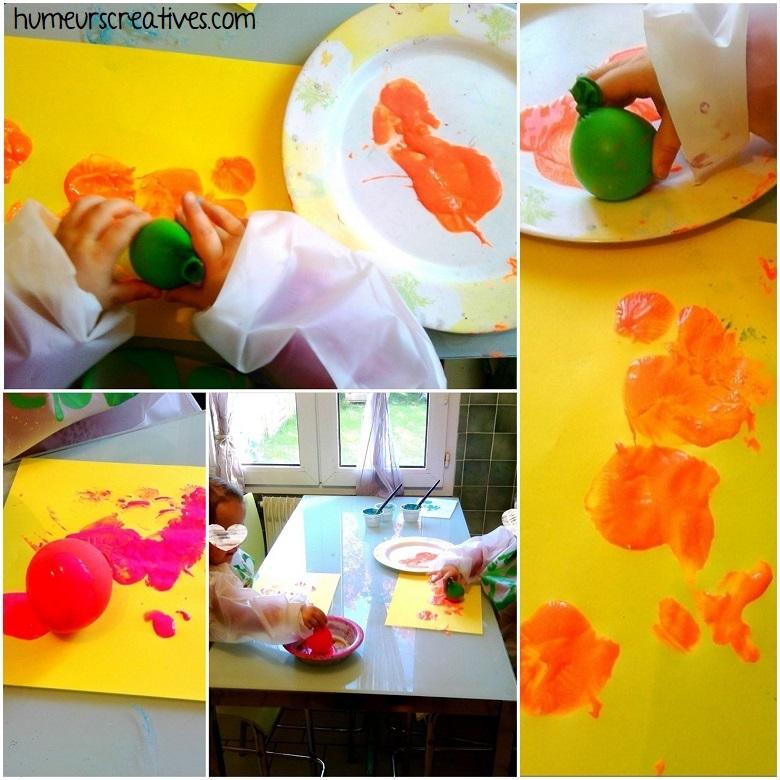 empreintes de ronds en peinture avec des ballons de baudruche