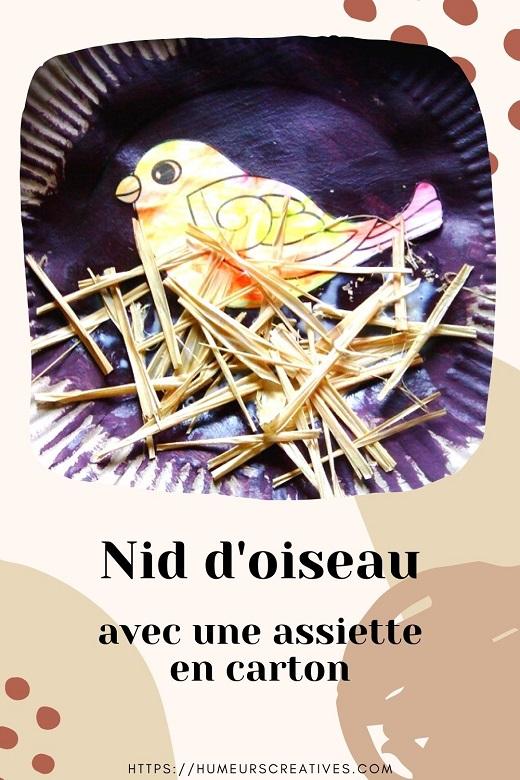 Bricolage pour enfants  : nid oiseaux avec une assiette en carton