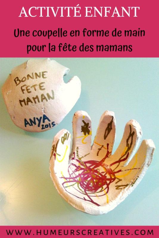 bricolage fête des mères : une coupelle en forme de main d'enfant
