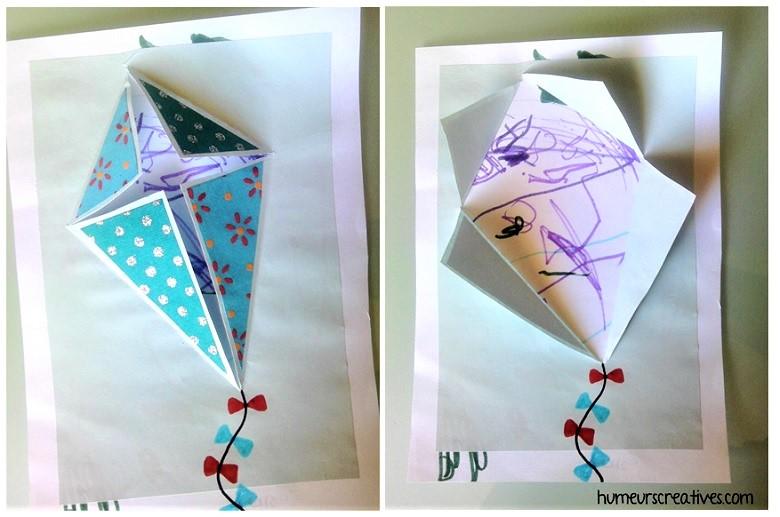 carte cerf volant avec coloriage enfant