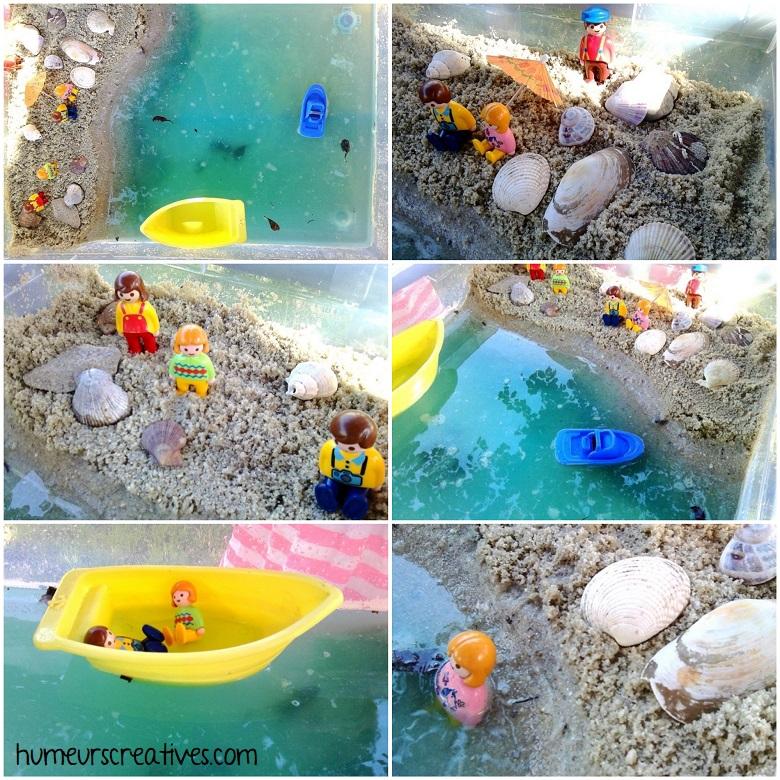 présentation et observation de notre bac sensoriel sur la plage