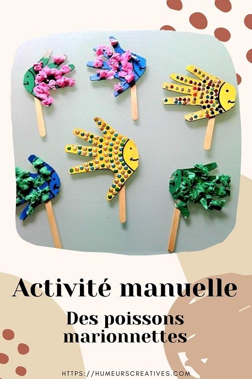 Bricolage pour enfant sur le thème de la mer : des poissons marionnettes