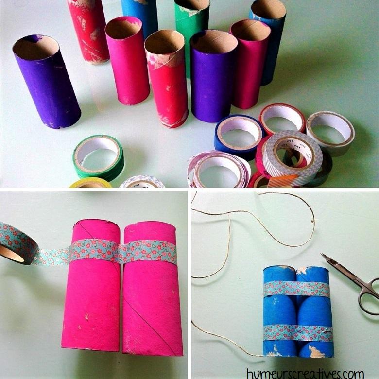 assemblage des rouleaux avec du masking tape pour faire des jumelles