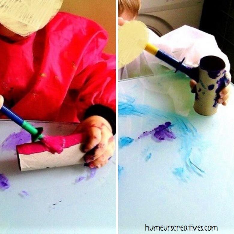 peinture sur des rouleaux de papier toilette