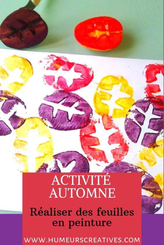 Bricolage d'automne pour enfants : des feuilles d'arbre en empreintes de pomme de terre