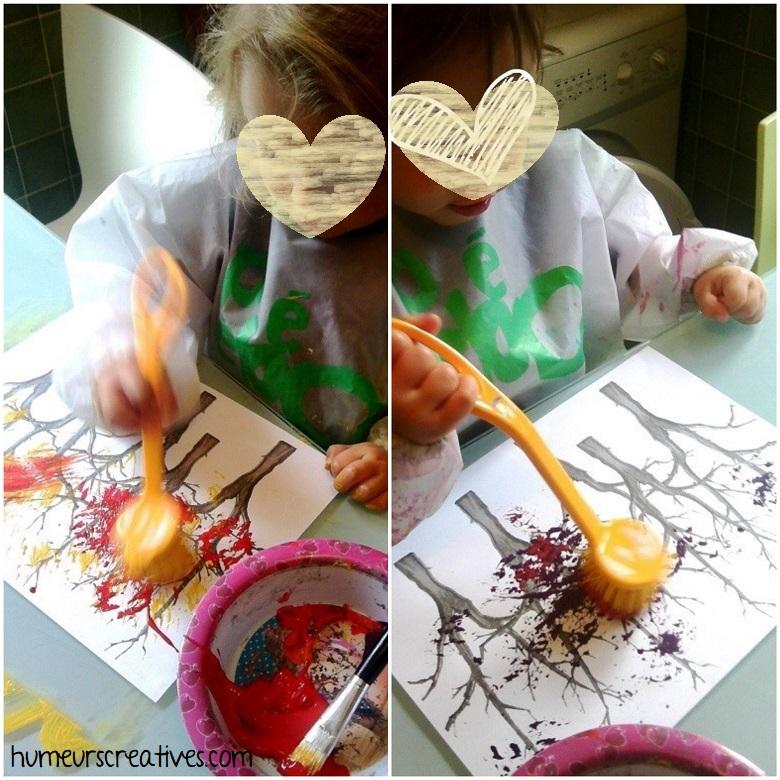 les enfants peignent avec une brosse pour réaliser une forêt d'automne