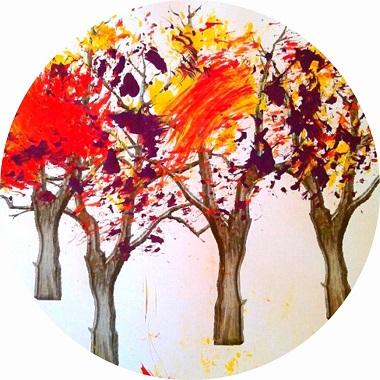 Bricolage pour enfant : une foret d'automne en peinture