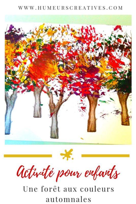 Bricolage d'automne pour enfants : peindre une forêt avec une brosse