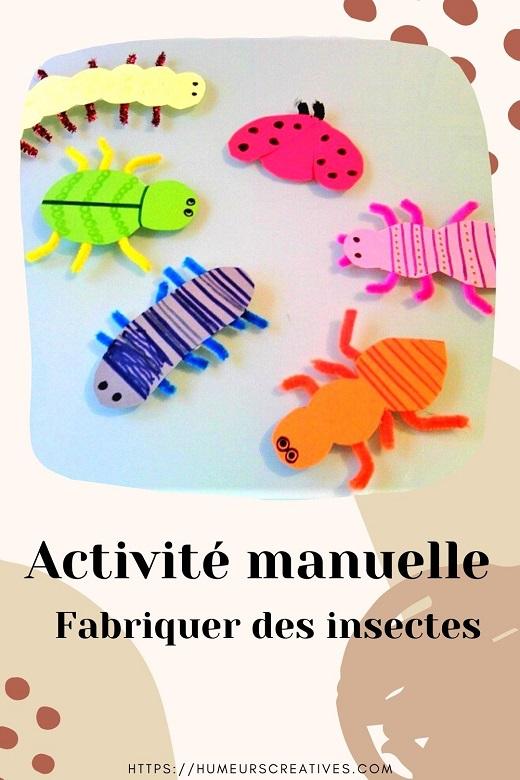 Activité manuelle pour enfants  : fabriquer des insectes en papier