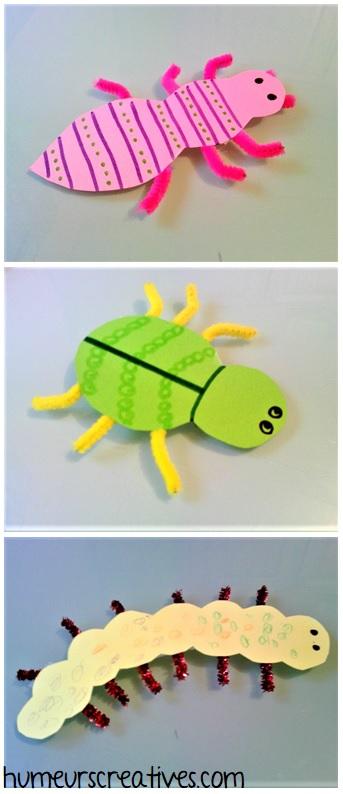 insectes réalisés avec du papier