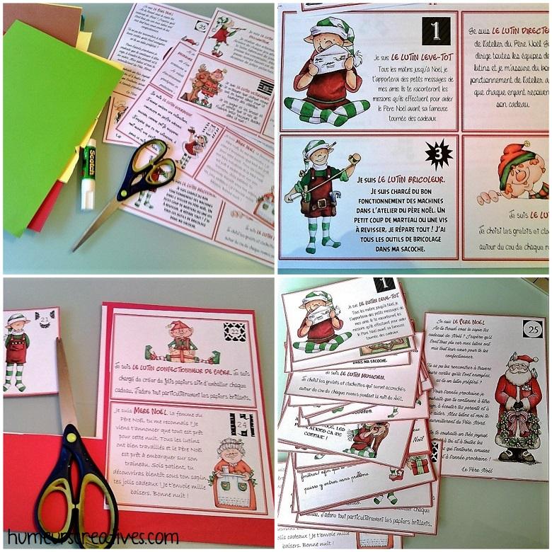 Réalisation des cartes de lutins pour la boite aux lettres de l'Avent