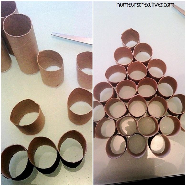 découper les rouleaux de papier toilette pour former un sapin