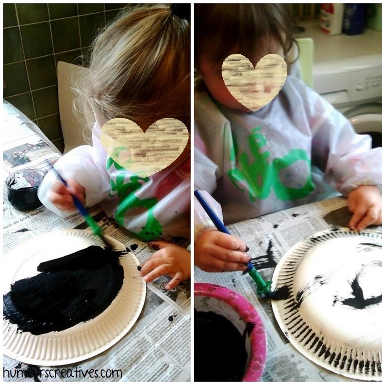 peinture sur les assiettes en carton