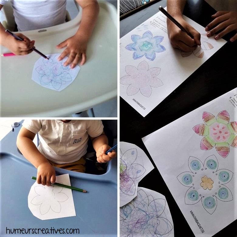 coloriage des fleurs avec crayons de couleurs