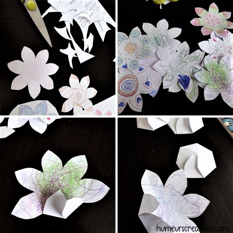 découpage et pliage des fleurs