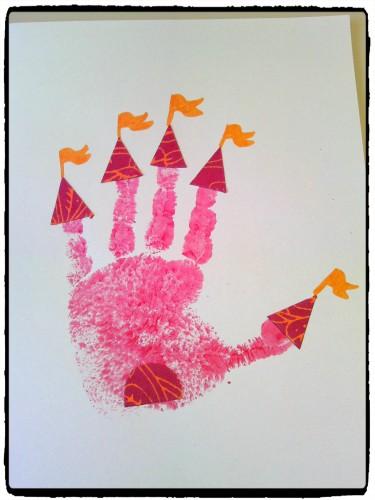 Châteaux de princesse en empreinte de main