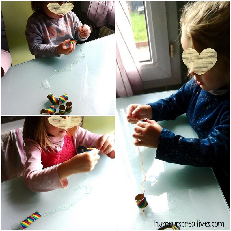enfiler des perles sur un fil, activité enfant
