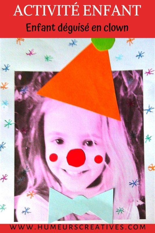 bricolage enfant : décorer une photo de l'enfant pour se déguiser en clown