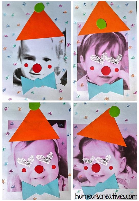 enfants déguisés en clown : activité manuelle