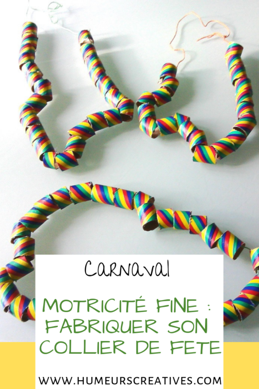 bricolage pour enfants  : réaliser des colliers pour le carnaval
