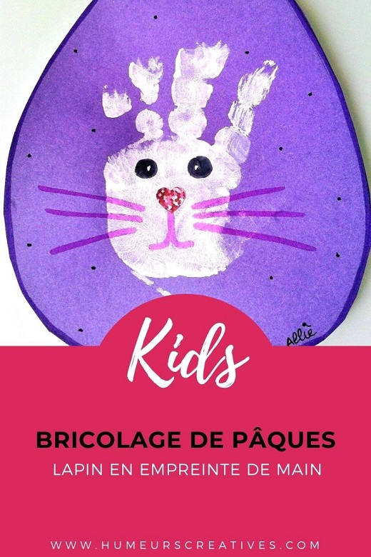Lapin de Pâques en empreinte de main à faire avec les enfants
