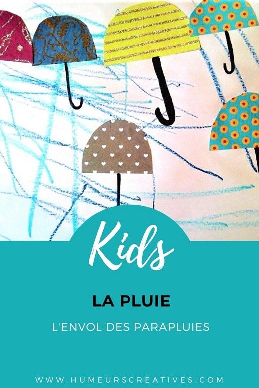 Bricolage pour enfants autour de la pluie : dessin et collage de parapluies