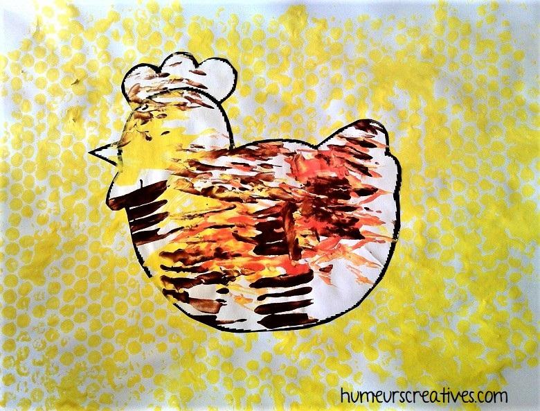 bricolage poule en peinture