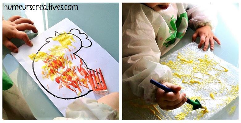 poule peint avec une fourchette par les enfants