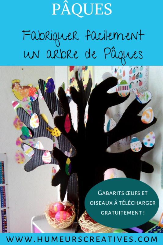 bricolage de paques ; fabriquer un arbre de Pâques en carton avec les enfants