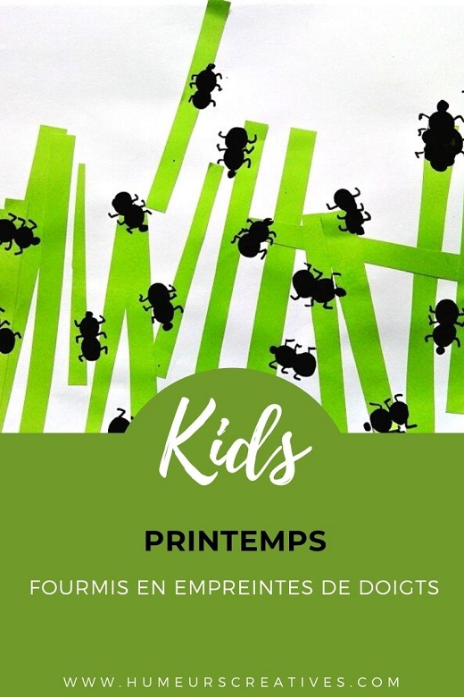 Bricolage de printemps pour enfants : fourmis en empreintes de doigts