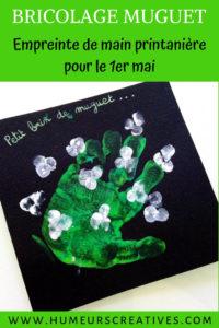 bricolage pour enfant pour le 1er mai : du muguet avec une empreinte de main