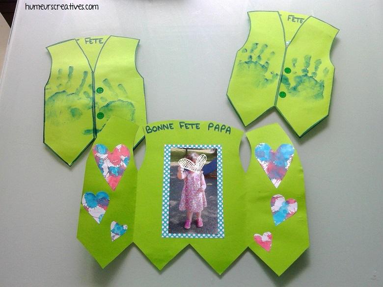 réalisation de la carte en forme de chemise pour la fête des pères