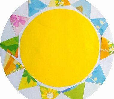 Soleil en collage papier pour les enfants