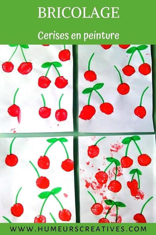 Bricolage pour enfants sur l'été : des cerises en peinture