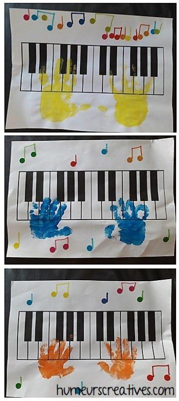 empreinte de main sur un piano, activité manuelle pour enfants