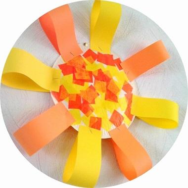 bricolage de printemps : réaliser un soleil avec une assiette en carton