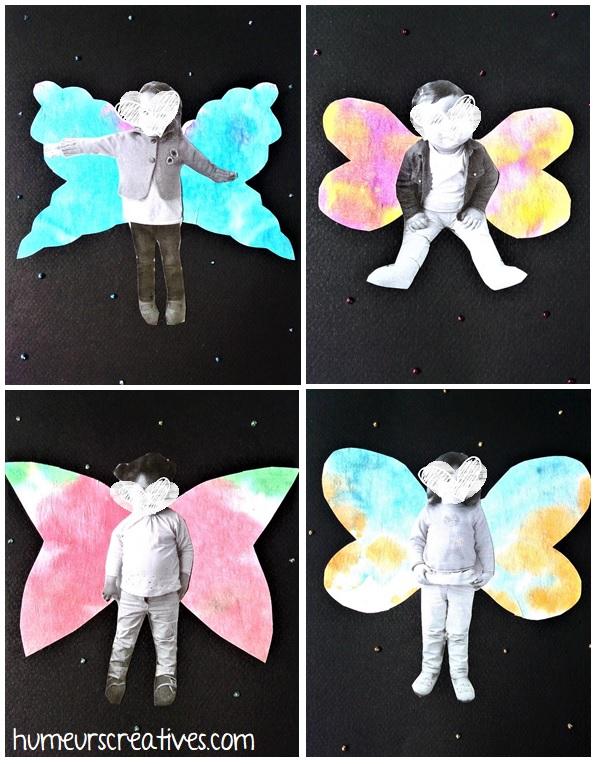 Jolis papillons avec photos des enfants
