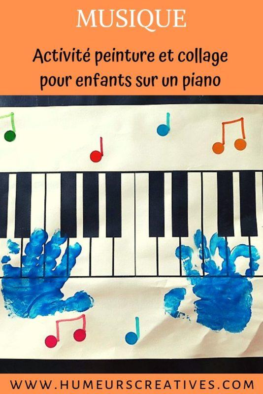 Bricolage sur la musique pour les enfants : empreintes de mains sur un piano