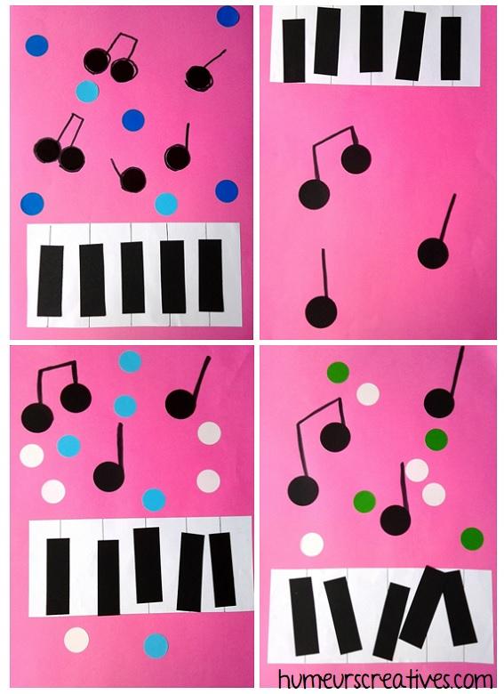 activité manuelle pour enfants sur la musique : créer et coller un piano et des notes de musique