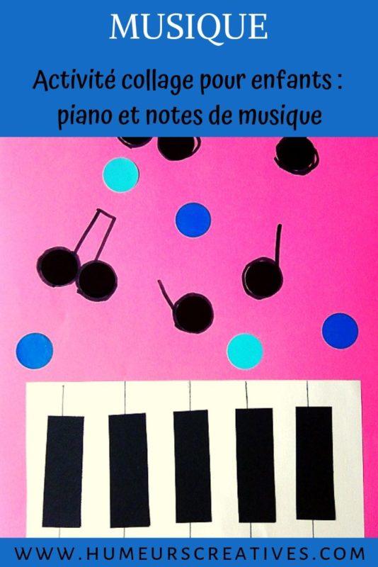 Activité manuelle pour enfants sur la musique : collage de piano et notes de musique