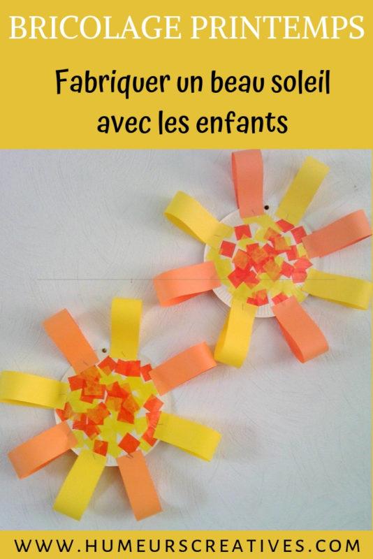 bricolage de printemps pour enfants : fabriquer un soleil avec une assiette en carton