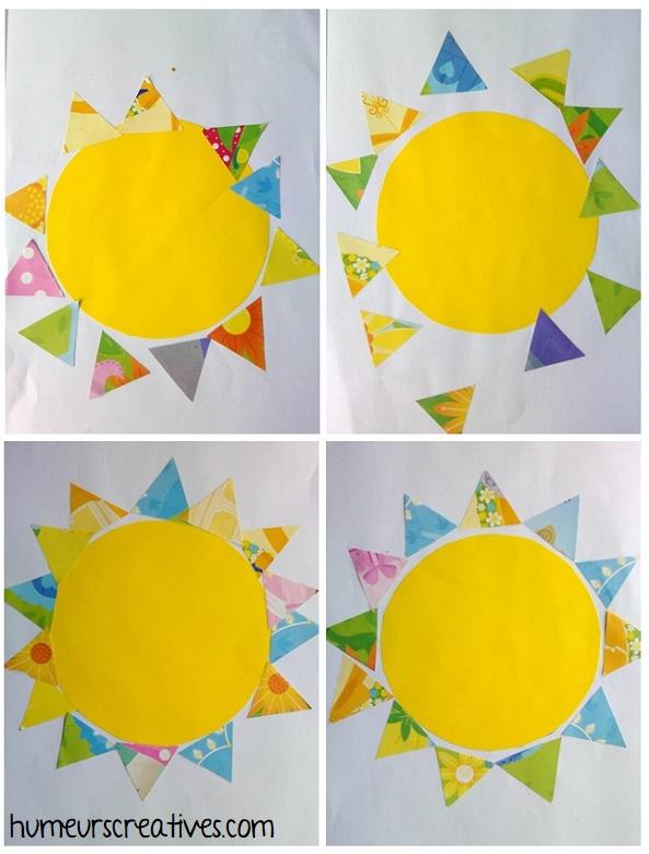 Soleils en papier réalisés par les enfants