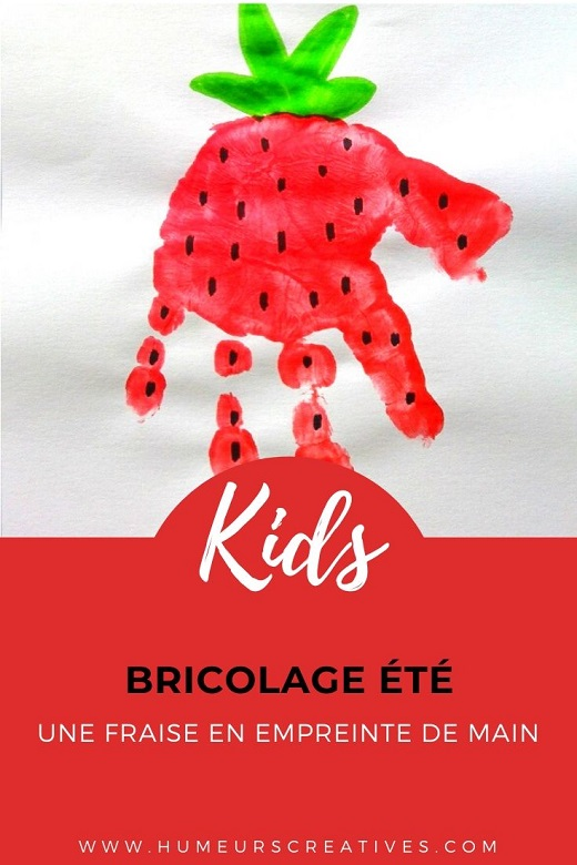 Bricolage pour enfant : une fraise en empreinte de main