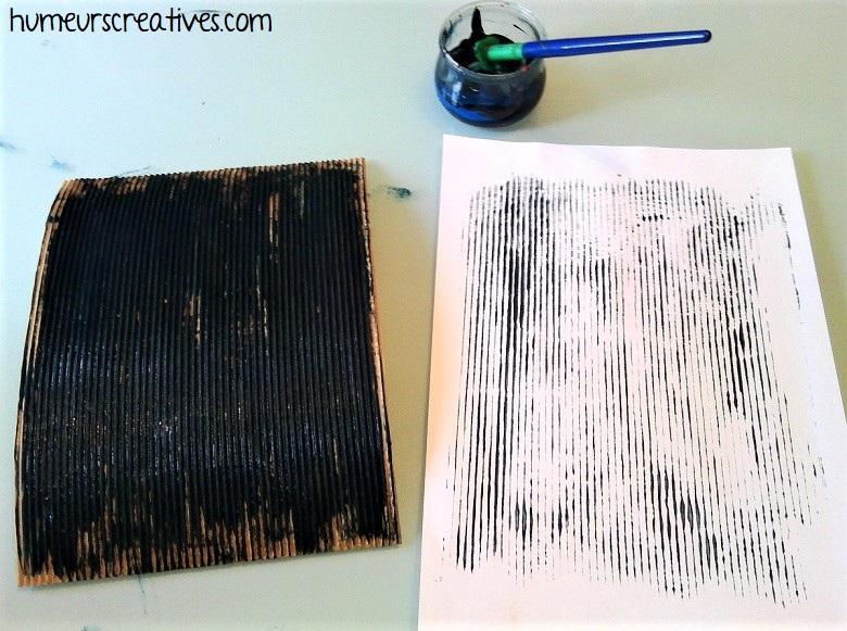 empreinte papier ondulé pour réaliser la pluie