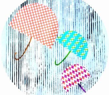 Art visuel pour enfants : parapluies sous la pluie