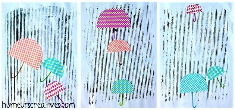 Parapluies sous la pluie, bricolage pour enfants