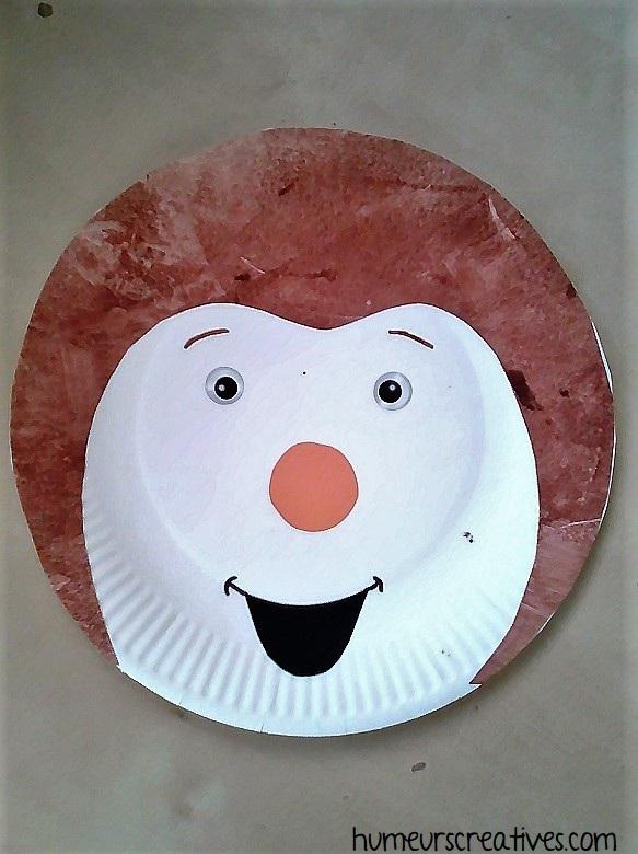 Tchoupi fabriqué avec une assiette en carton