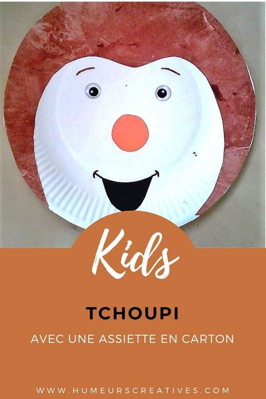 Bricolage pour enfant ; fabriquer tchoupi avec une assiette en carton