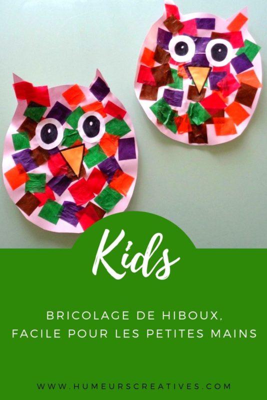 Bricolage pour enfant : des chouettes en papier (collage)